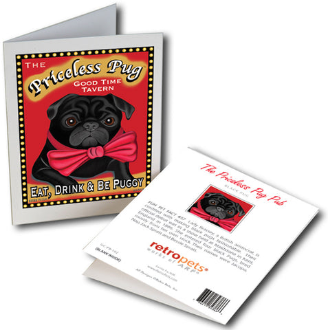 "Pug Art ""Priceless Pug"" 6 Small Greeting Cards by Krista Brooks"