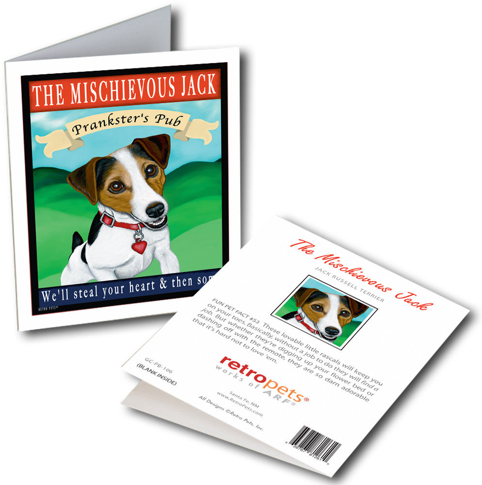 "Jack Russell Terrier Art ""The Mischievous Jack"" 6 Small Greeting Cards by Krista Brooks"