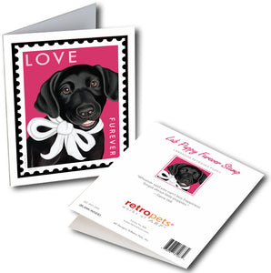 "Labrador Art ""Lab LOVE Furever Stamp - Black Lab"" 6 Small Greeting Cards by Krista Brooks"