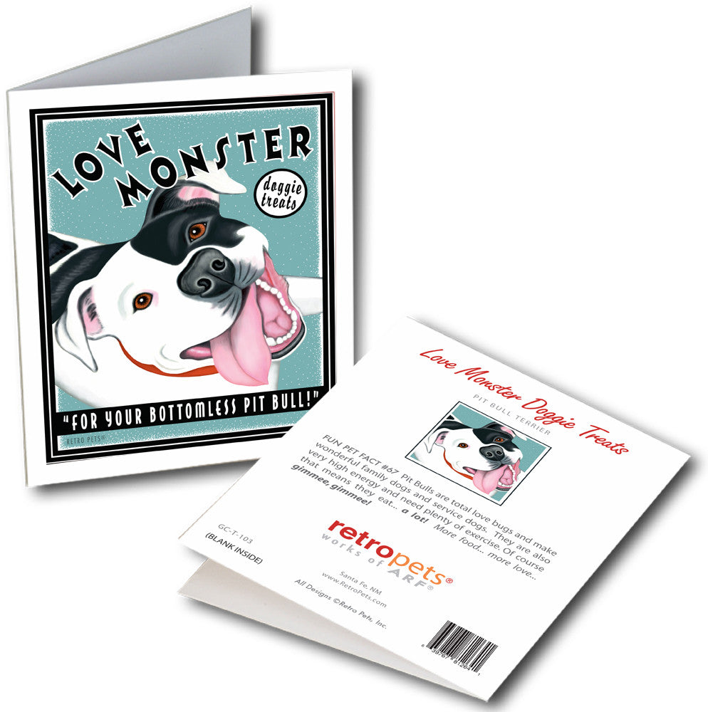 "Pit Bull Terrier Art ""Love Monster"" 6 Small Greeting Cards by Krista Brooks"
