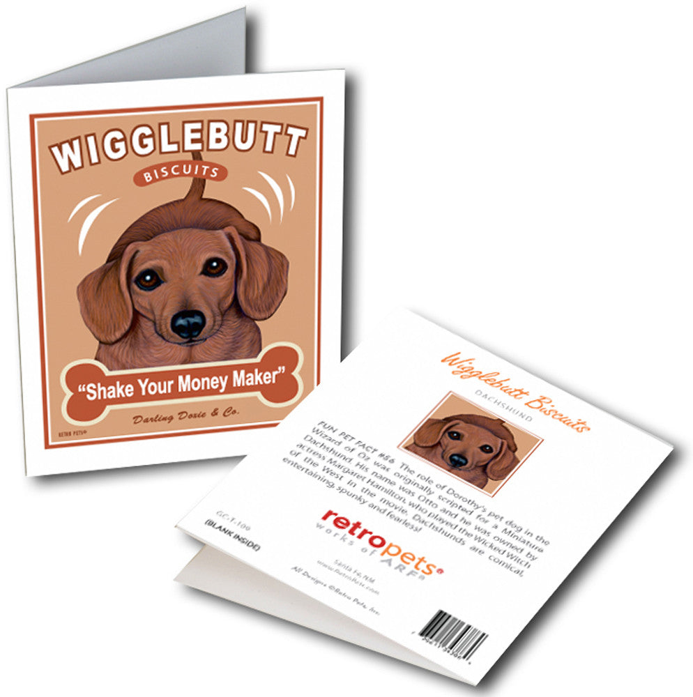 "Dachshund Art ""Wigglebutt Biscuits"" 6 Small Greeting Cards by Krista Brooks"
