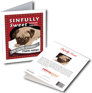 "Pug Art ""Sinfully Sweet"" 6 Small Greeting Cards by Krista Brooks"