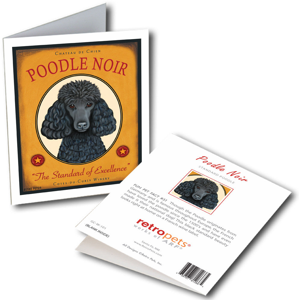 "Poodle Art ""Poodle Noir"" 6 Small Greeting Cards by Krista Brooks"