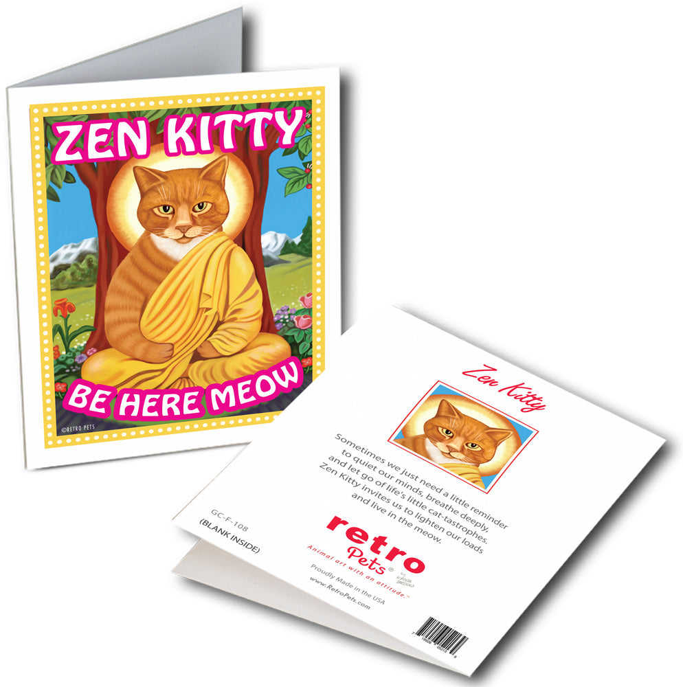 "Cat Art ""Zen Kitty"" 6 Small Greeting Cards by Krista Brooks"