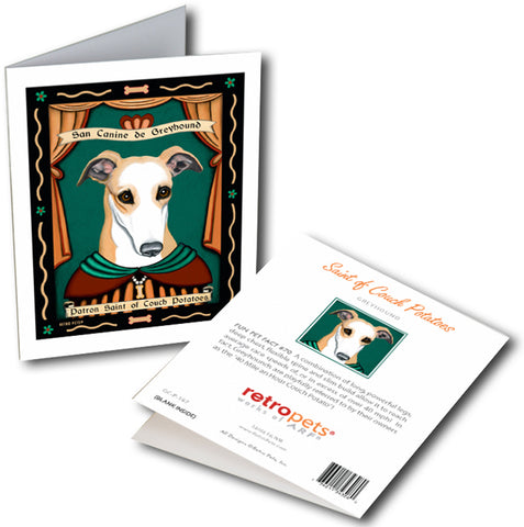 "Greyhound Art ""Saint of Couch Potatoes"" 6 Small Greeting Cards by Krista Brooks"