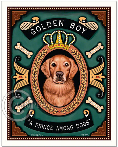 "Golden Retriever Art ""Golden Boy - A Prince Among Dogs"" Art Print by Krista Brooks"