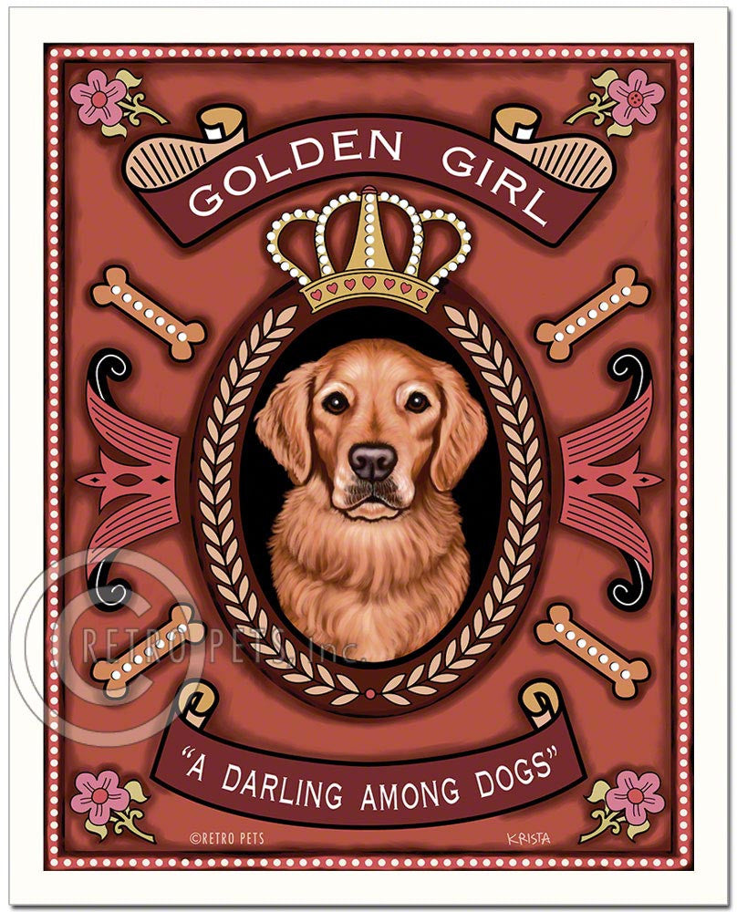 "Golden Retriever Art ""Golden Girl - A Darling Among Dogs"" Art Print by Krista Brooks"