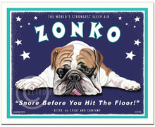 "Load image into Gallery viewer, English Bulldog Art ""Zonko - World's Strongest Sleep Aid"" Art Print by Krista Brooks"