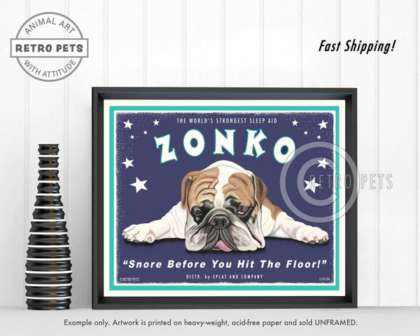 "Bulldog Art ""Zonko - World's Strongest Sleep Aid"" Art Print by Krista Brooks"