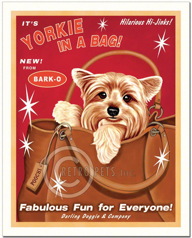 "Yorkshire Terrier Art ""Yorkie in a Bag"" Art Print by Krista Brooks"