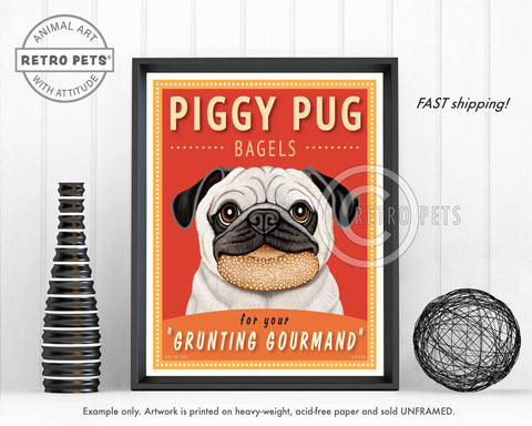 "Pug Art ""Piggy Pug Bagels"" Art Print by Krista Brooks"