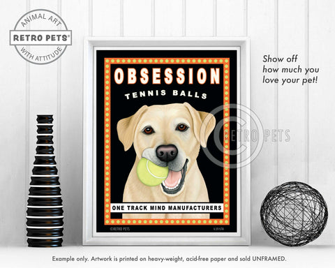 "Labrador Retriever Art ""Obsession Tennis Balls"" Yellow Lab Art Print by Krista Brooks"