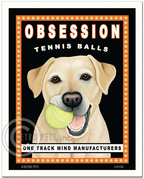 "Yellow Labrador Art ""Obsession Tennis Balls"" Art Print by Krista Brooks"