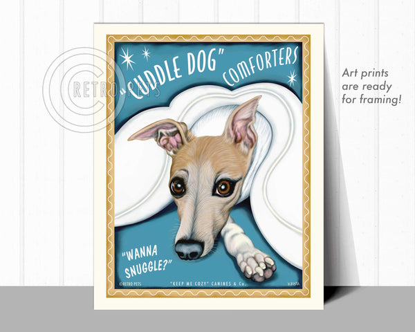 "Whippet Art ""Cuddle Dog Comforters"" Art Print by Krista Brooks"