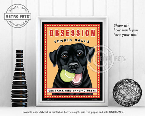 "Labrador Retriever Art ""Obsession Tennis Balls"" Black Lab Art Print by Krista Brooks"
