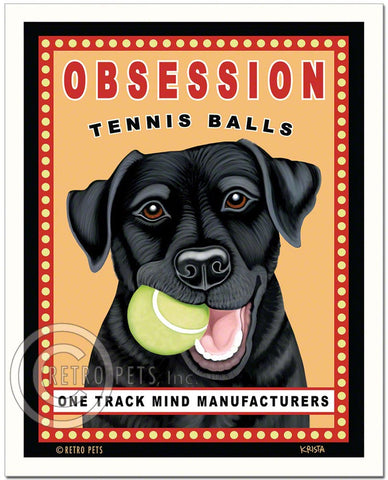 "Black Labrador Art ""Obsession Tennis Balls"" Art Print by Krista Brooks"