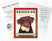 "Load image into Gallery viewer, Labrador Retriever Art ""Obsession Tennis Balls"" Chocolate Lab Art Print by Krista Brooks"