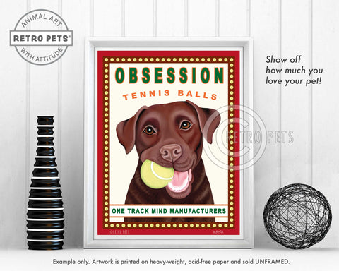 "Labrador Retriever Art ""Obsession Tennis Balls"" Chocolate Lab Art Print by Krista Brooks"