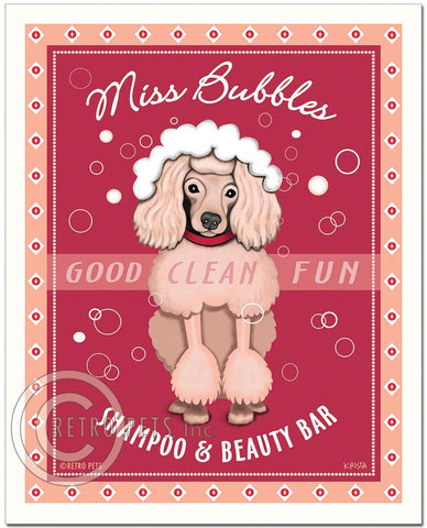 "Pink Poodle Art ""Miss Bubbles"" Art Print by Krista Brooks"