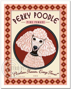 "Pink Poodle Art ""Perky Poodle Pommade"" Art Print by Krista Brooks"