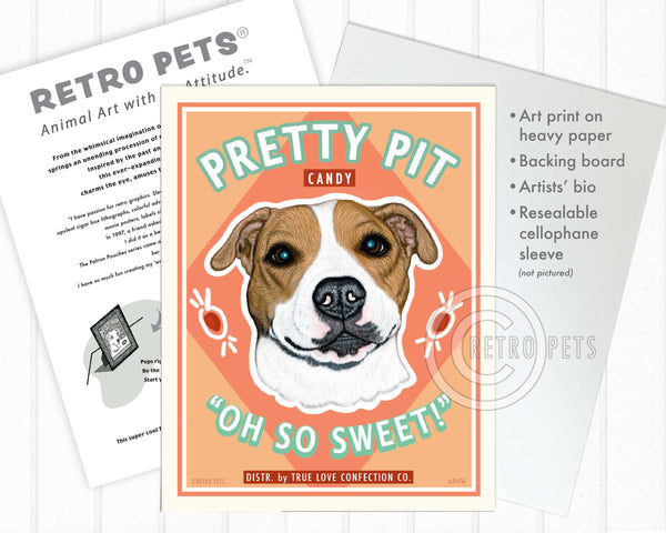 "Pit Bull Terrier Art ""Pretty Pit Candy"" Art Print by Krista Brooks"
