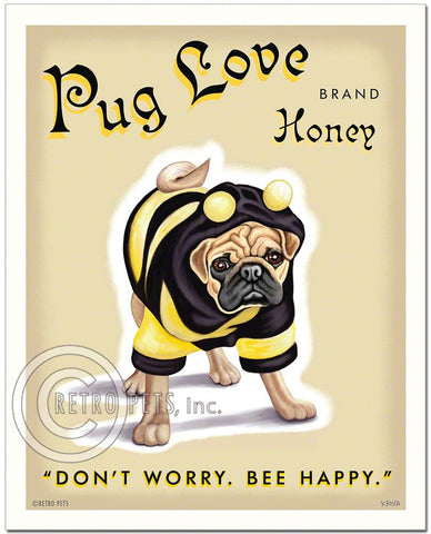 "Fawn Pug Art ""Pug Love Honey"" Art Print by Krista Brooks"
