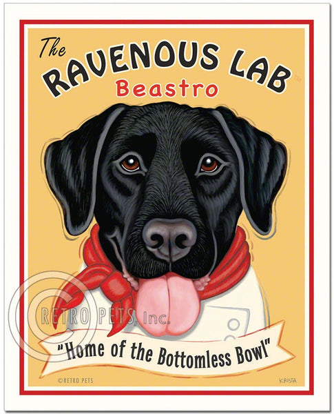 "Black Labrador Art ""Ravenous Lab"" Art Print by Krista Brooks"