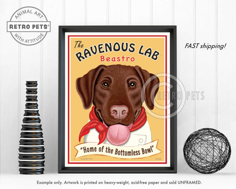 "Labrador Retriever Art ""Ravenous Lab"" Art Print by Krista Brooks"