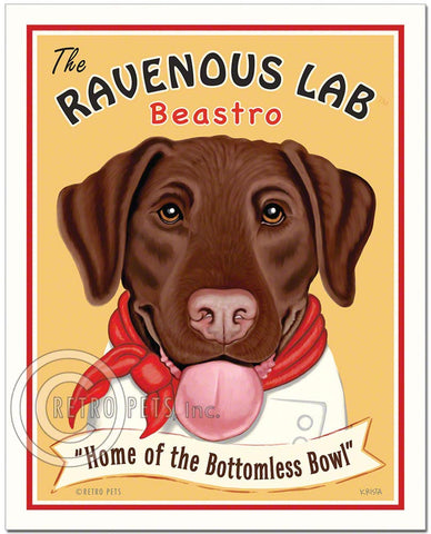 "Chocolate Labrador Art ""Ravenous Lab"" Art Print by Krista Brooks"