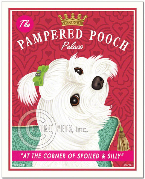 "Maltese Art ""Pampered Pooch"" Art Print by Krista Brooks"