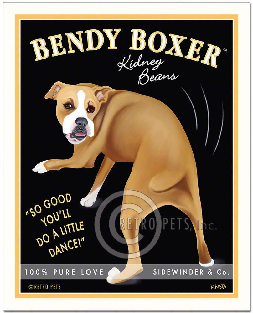 "Boxer Art ""Bendy Boxer"" Art Print by Krista Brooks"