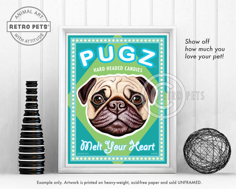 "Pug Art ""PUGZ Candy"" Art Print by Krista Brooks"