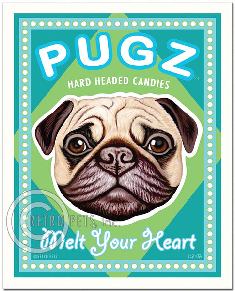 "Fawn Pug Art ""PUGZ Candy"" Art Print by Krista Brooks"
