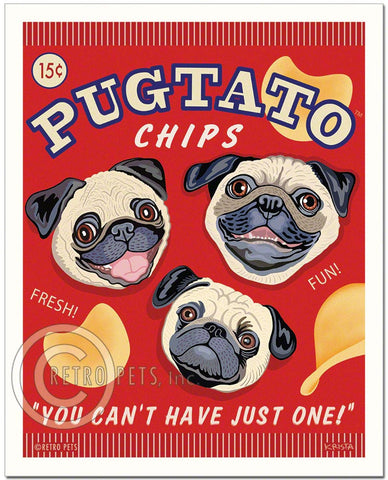 "Pug Art ""Pugtato Chips"" Art Print by Krista Brooks"