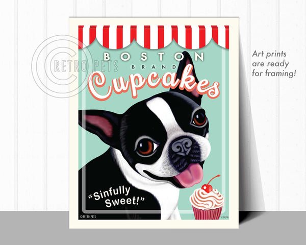 "Boston Terrier Art ""Boston Brand Cupcakes"" Art Print by Krista Brooks"
