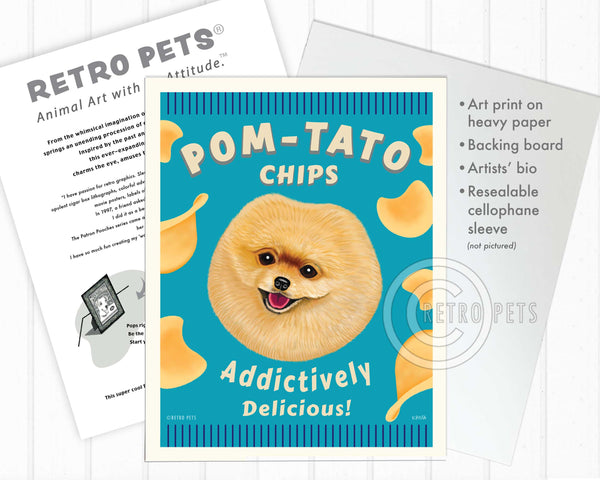 "Pomeranian Art ""Pom-Tato Chips"" Art Print by Krista Brooks"