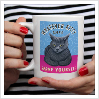 "Cat Art (Grey) ""Whatever Kitty"" 15 oz. White Mug"