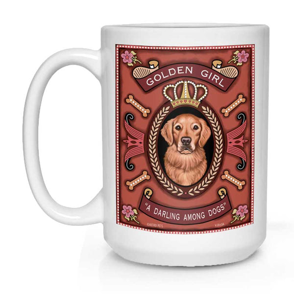 "Golden Retriever Art ""Golden Girl"" 15 oz. White Mug"