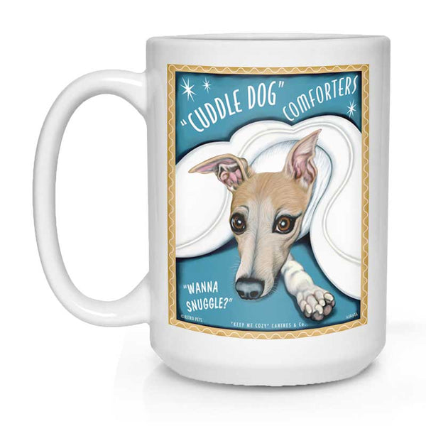 "Whippet Art ""Cuddle Dog Comforters"" 15 oz. White Mug"