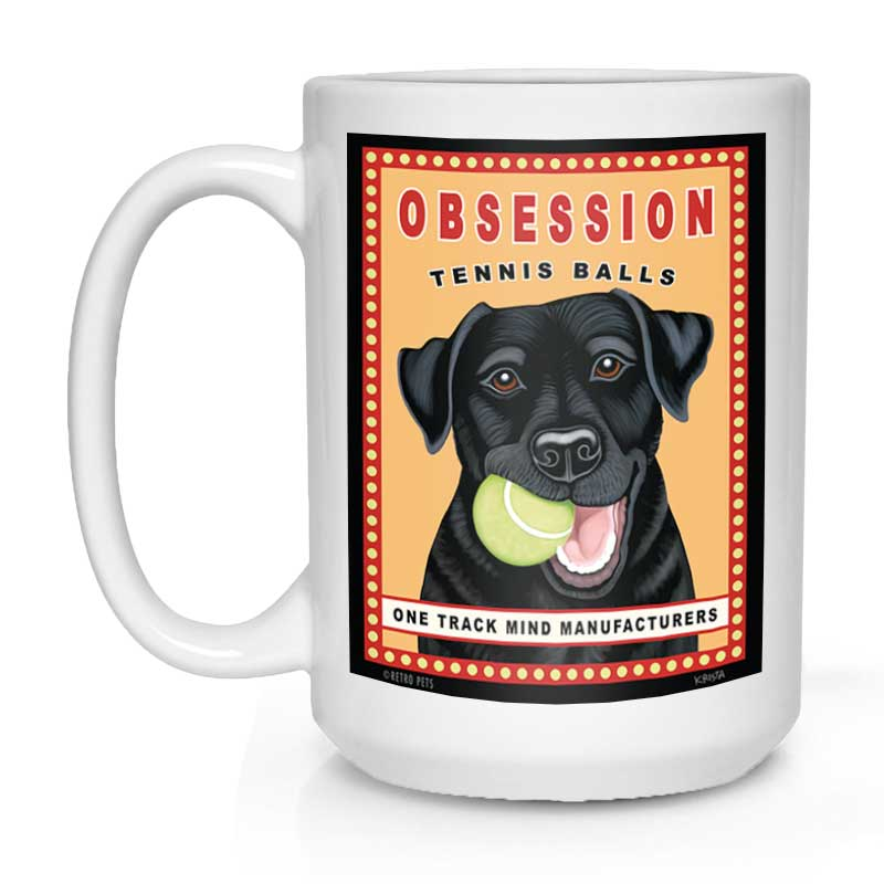 "Labrador Retriever Art ""Obsession Tennis Balls - Black Lab"" 15 oz. White Mug"