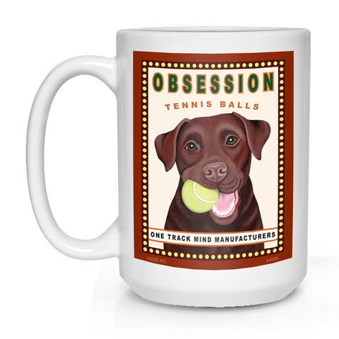 "Labrador Retriever Art ""Obsession Tennis Balls - Chocolate Lab"" 15 oz. White Mug"