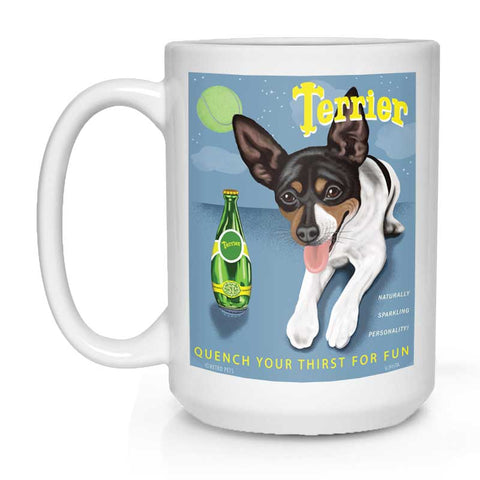 "Rat Terrier Art ""Perrier Spoof"" 15 oz. White Mug"
