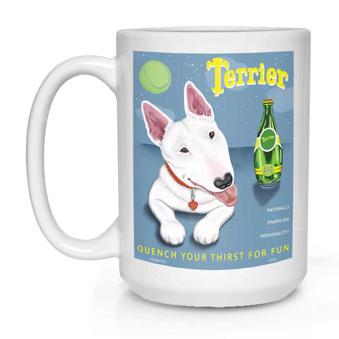 "Bull Terrier Art ""Perrier Spoof"" 15 oz. White Mug"