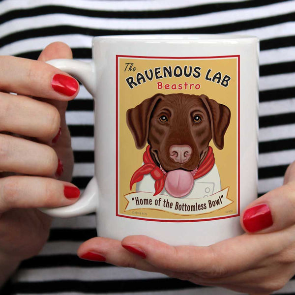 "Labrador Retriever Art ""Ravenous Lab - Chocolate Lab"" 15 oz. White Mug"