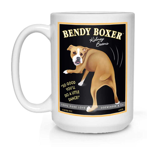 "Boxer Art ""Bendy Boxer Kidney Beans"" 15 oz. White Mug"