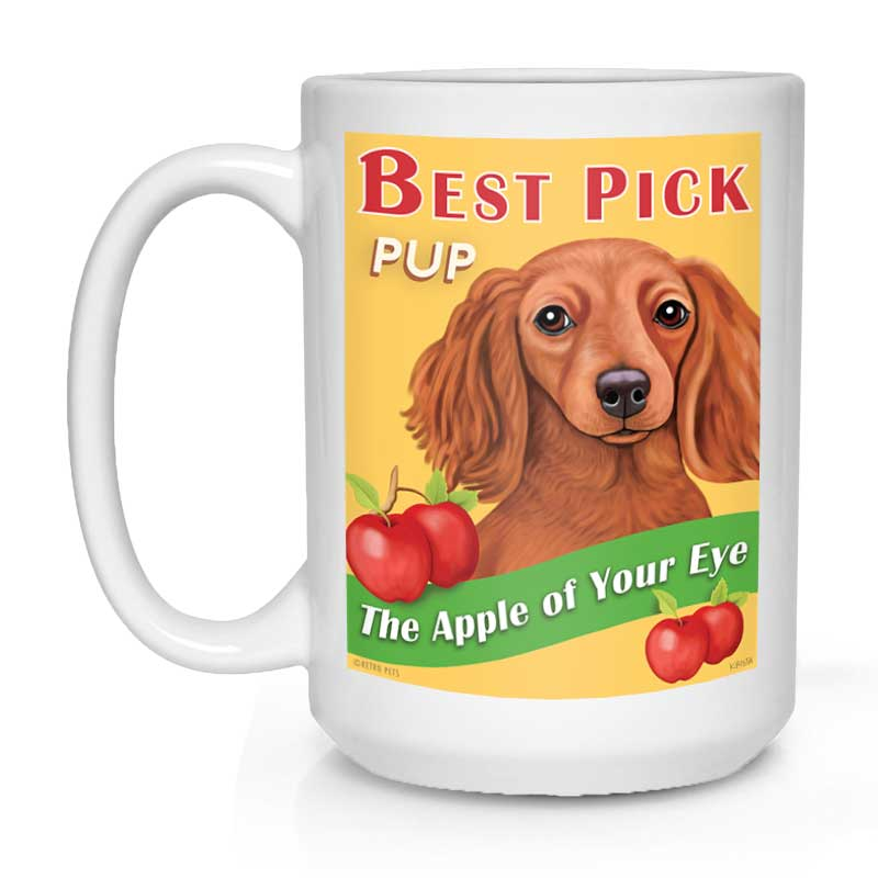 "Dachshund Art ""Best Pick Pup"" 15 oz. White Mug"