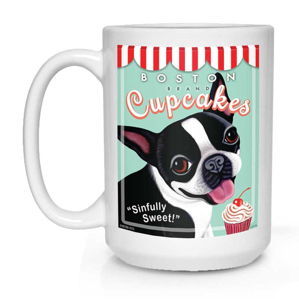 "Boston Terrier Art ""Boston Cupcakes"" 15 oz. White Mug"