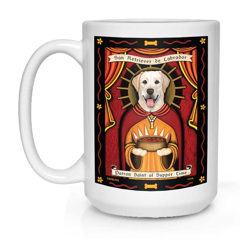 "Labrador Retriever Art ""Saint of Supper Time - Yellow Lab"" 15 oz. White Mug"