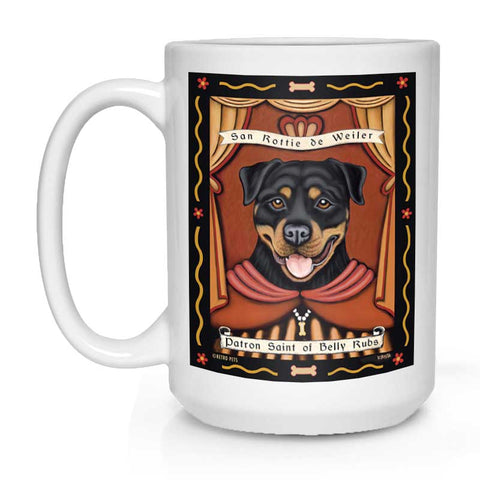 "Rottweiler Art - ""Saint of Belly Rubs"" 15 oz. White Mug"