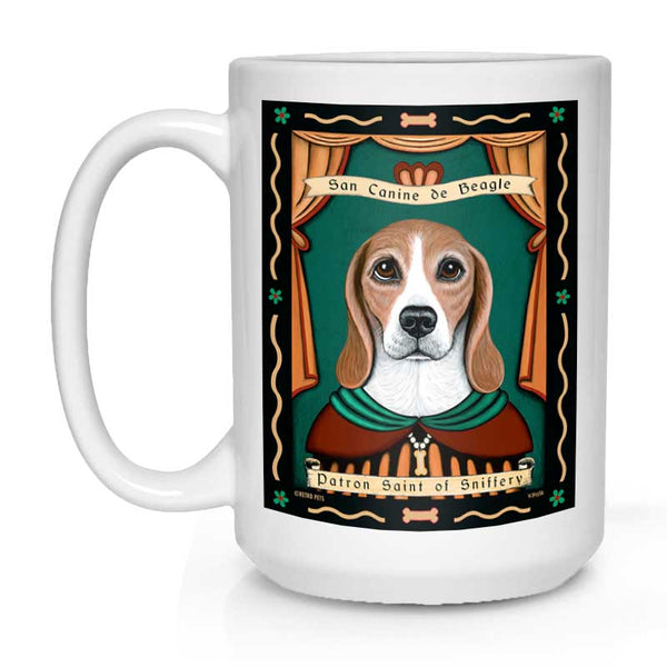 "Beagle Art ""Saint of Sniffery"" 15 oz. White Mug"